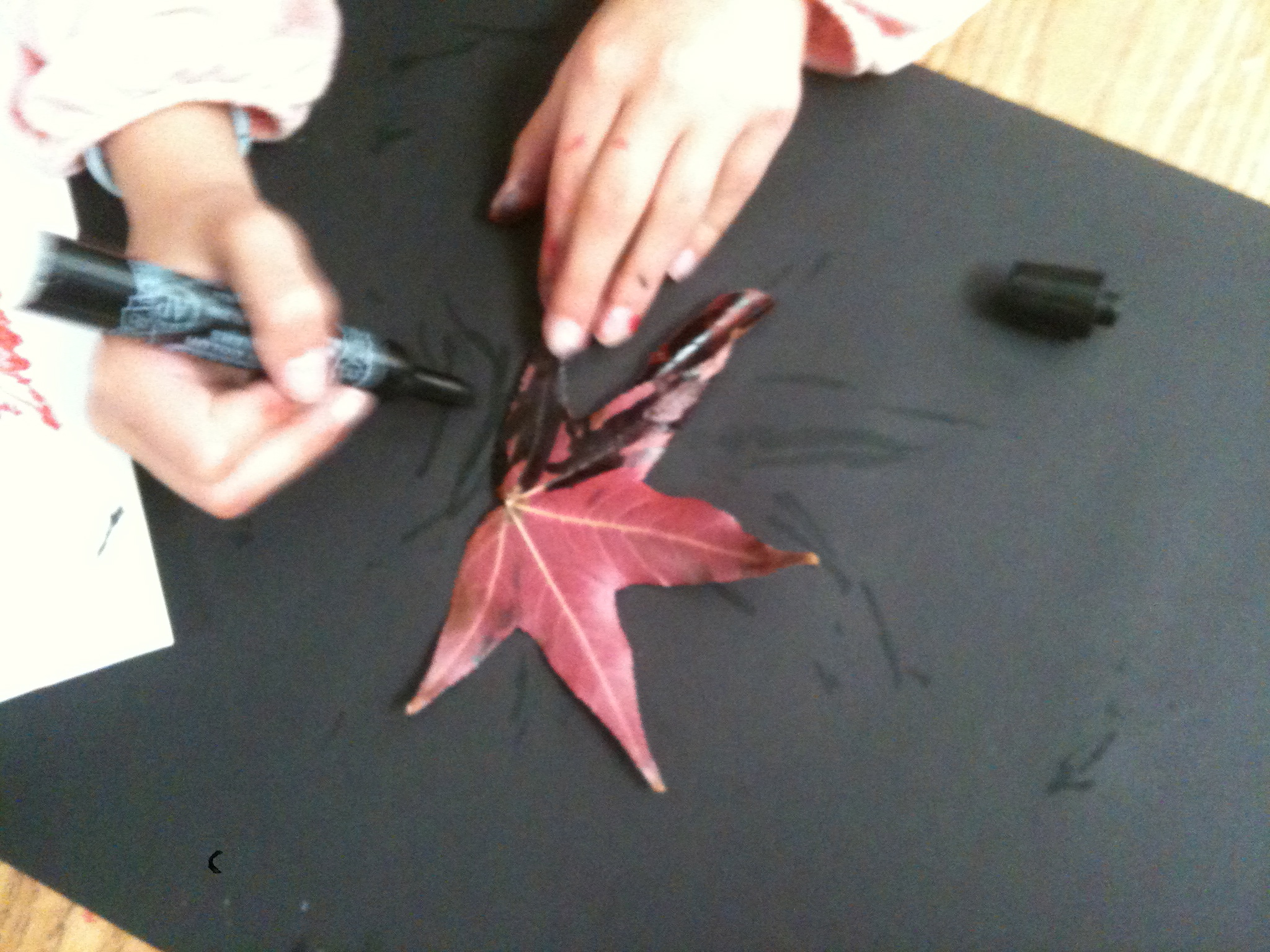 Inking the leaf with black marker. Be sure to ink the 'veiny' side of the leaf!