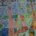 Artworks from four students intersect in Seurat-inspired mural