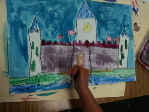 Watercolor Resist Castles for First Grade