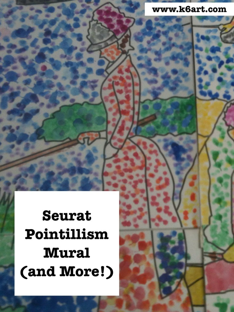Seurat Pointillism Mural group project uses $5 downloadable PDF