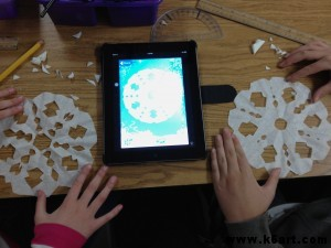 These two students collaborated on an iPad My Flake design, then both cut to match.
