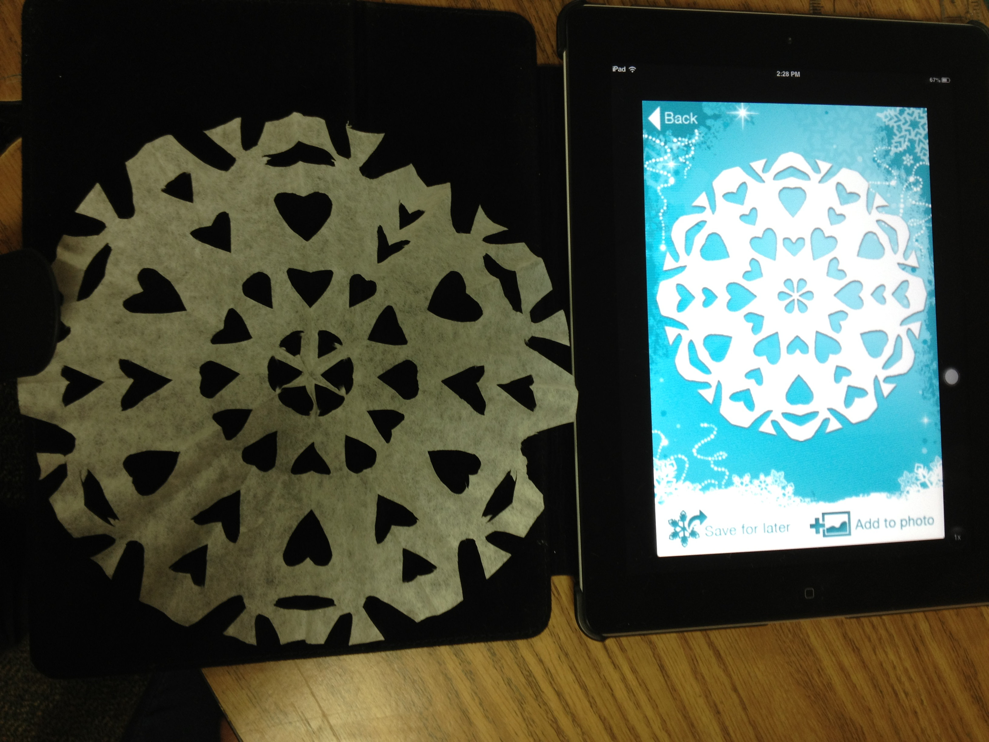 Matching paper and iPad snowflakes