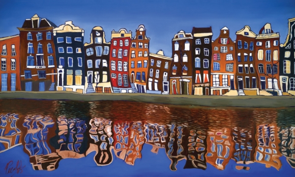 Canal Homes of Amsterdam by San Diego artist Grant Pecoff