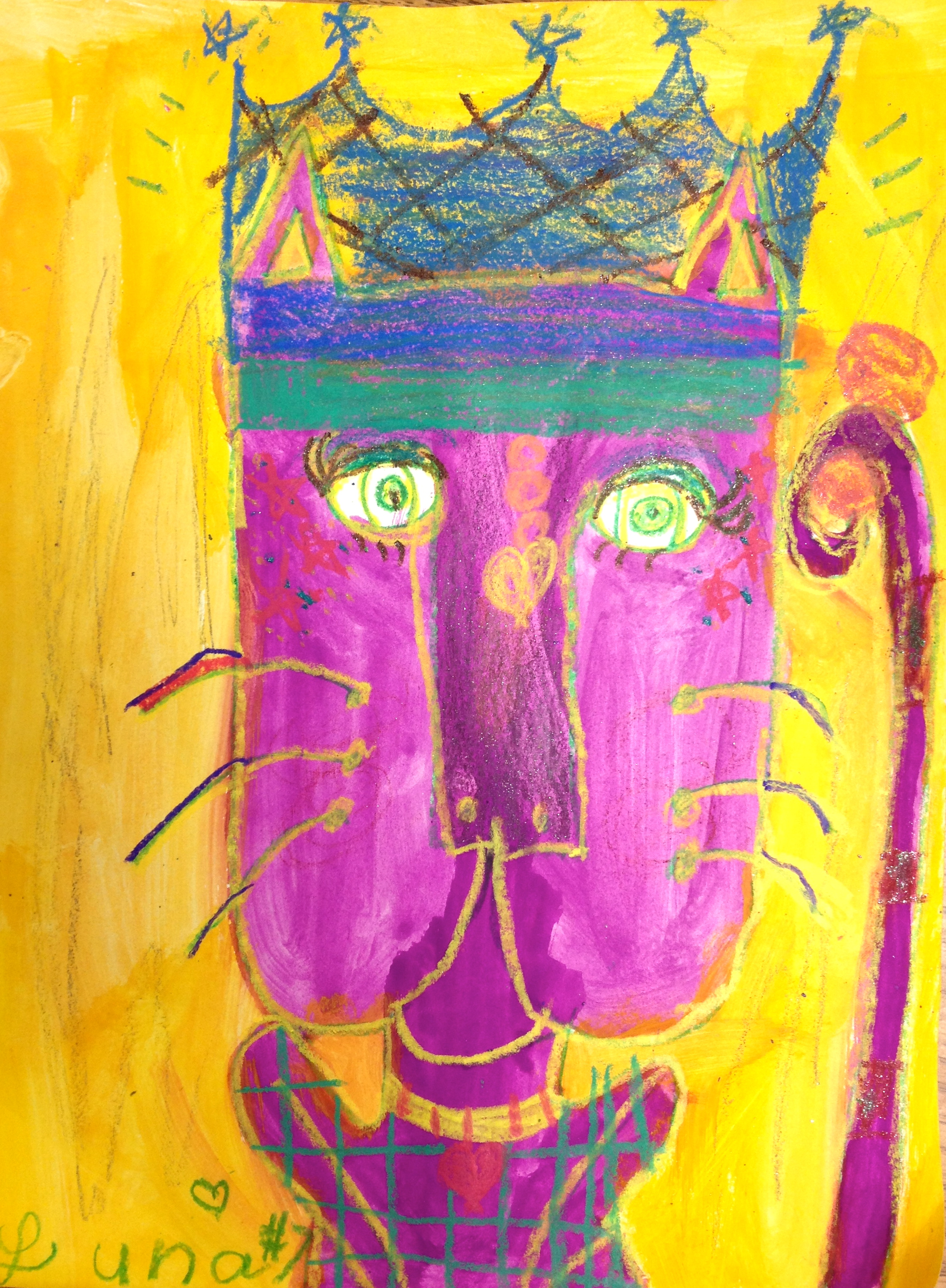 Second Graders Learn About The Complementary Colors Then Draw And Paint A Cat In