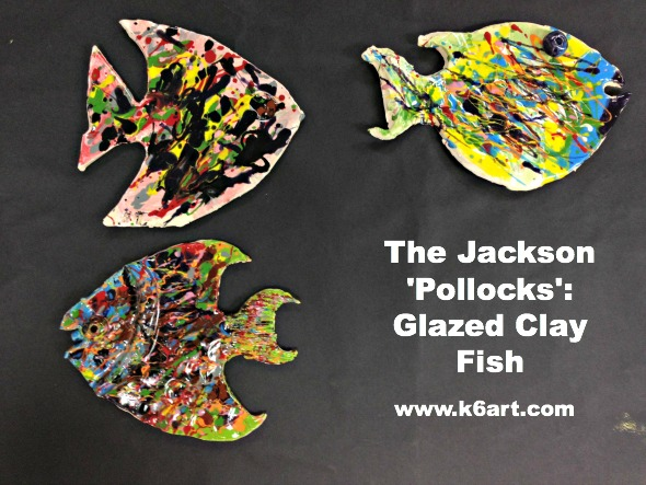 Jackson Pollock glazed clay fish