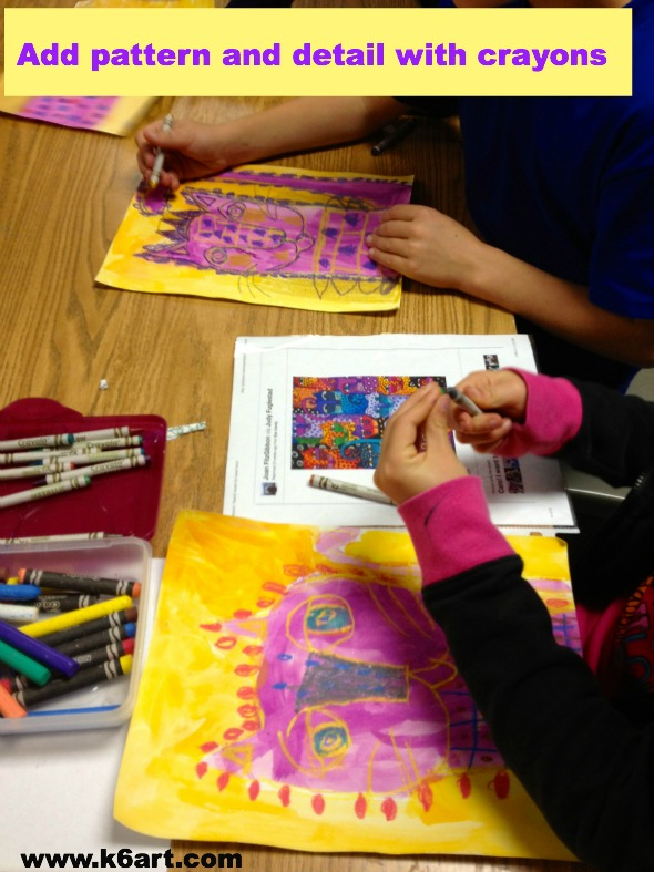 color Laurel Burch paintings with crayons