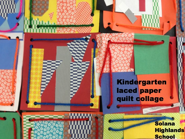 kindergarten laced paper quilt collage