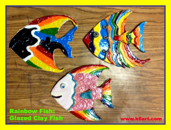 rainbow glaze clay fish