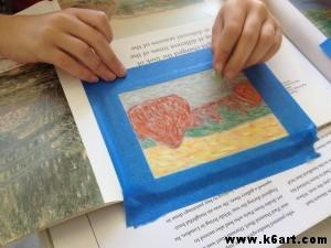 Paige recreates Monet's haystacks in chalk pastel.