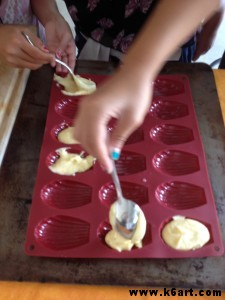 We used silicone madeleine molds.