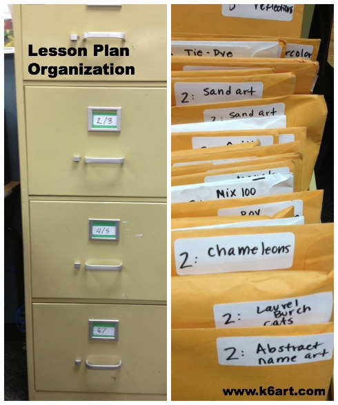 Lesson plans go into individual manilla envelopes. Turn the envelopes sideways, and they fit perfectly in my file drawers.
