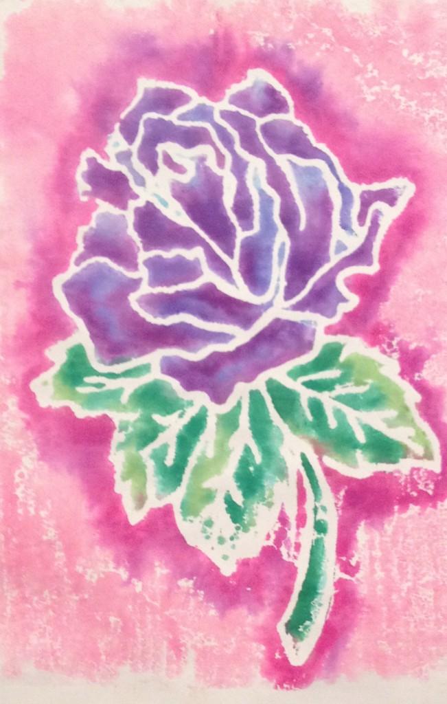 Blended marker scratch foam print from Michelle Breyer's workshop