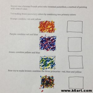 homemade pointillist worksheet