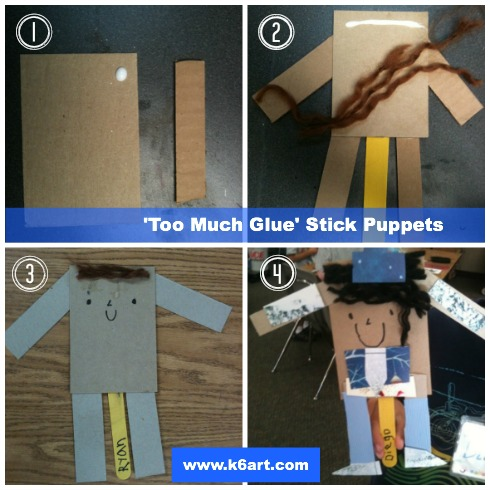 'Too Much Glue' Stick Puppets