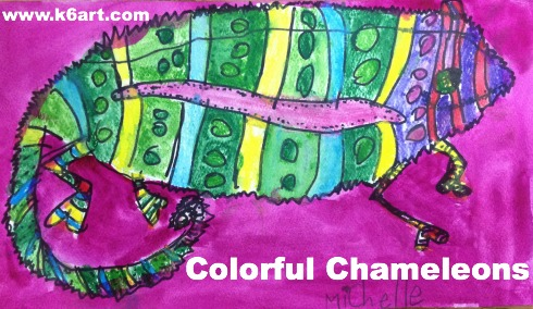 colorful watercolor chameleons