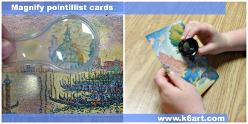 Use a magnifying glass or loop to examine pointillist art up close