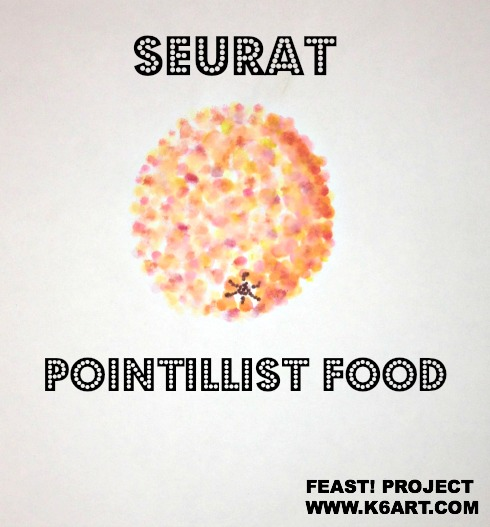 seurat pointillist food: Q-tips, pan watercolor and markers. Very successful!