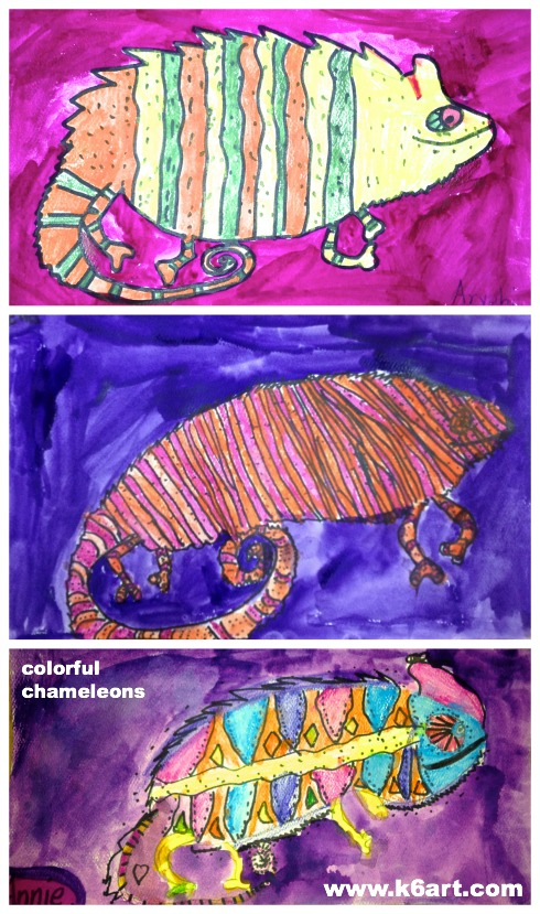 three watercolor chameleons