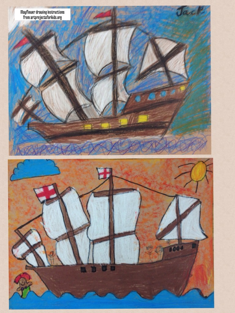 Mayflower drawings - instructions at artprojectsforkids.org