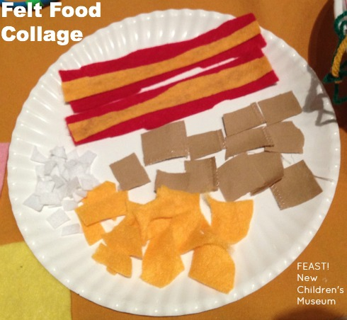 Third grader's plate includes bacon and mini-waffles created from felt and other fabric scraps.