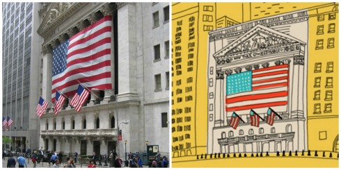 Marz Jr.'s illustration of the New York Stock Exchange.