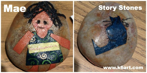 I created a story stone with main character Mae on the front and her cat on the back.