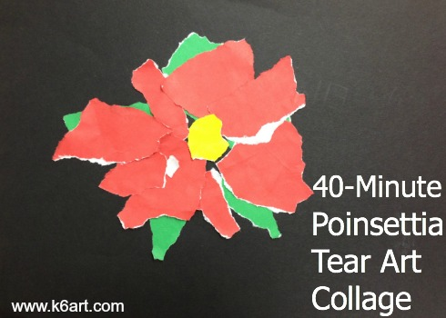 40-minute poinsettia tear art collage