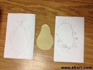 Kindergarteners used the Magic Pear tracer for directed draws, and as a basis for their own drawings.