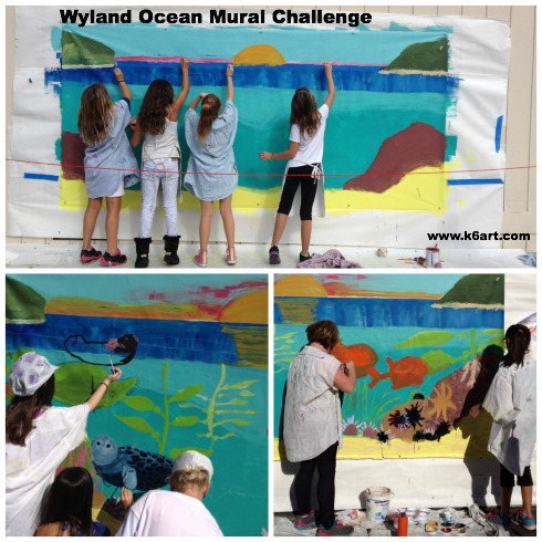 Fourth graders add marine life to the kelp forest mural.