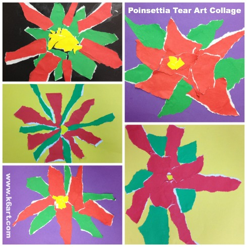 Poinsettia tear art gallery - 2nd grade