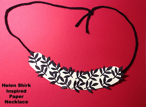 Shirk inspired necklace made with craft punches and card stock.