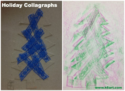 This students glued lace to her tree for texture. She did two rubbings with green and magenta crayons.