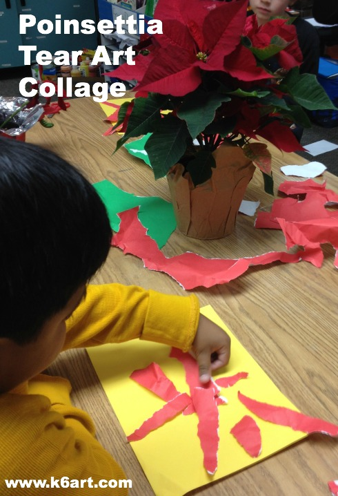 Students observe poinsettias and create a collage using red and green paper.  Allow one 40-minute class.