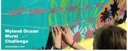 Each student stamped a fish on the mural, creating our own school of Pacific Jack Mackerel.