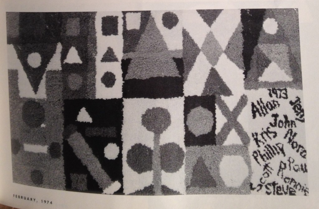 Punch rug created by a group of elementary students. Photo appeared in Arts and Activities Magazine, February 1974