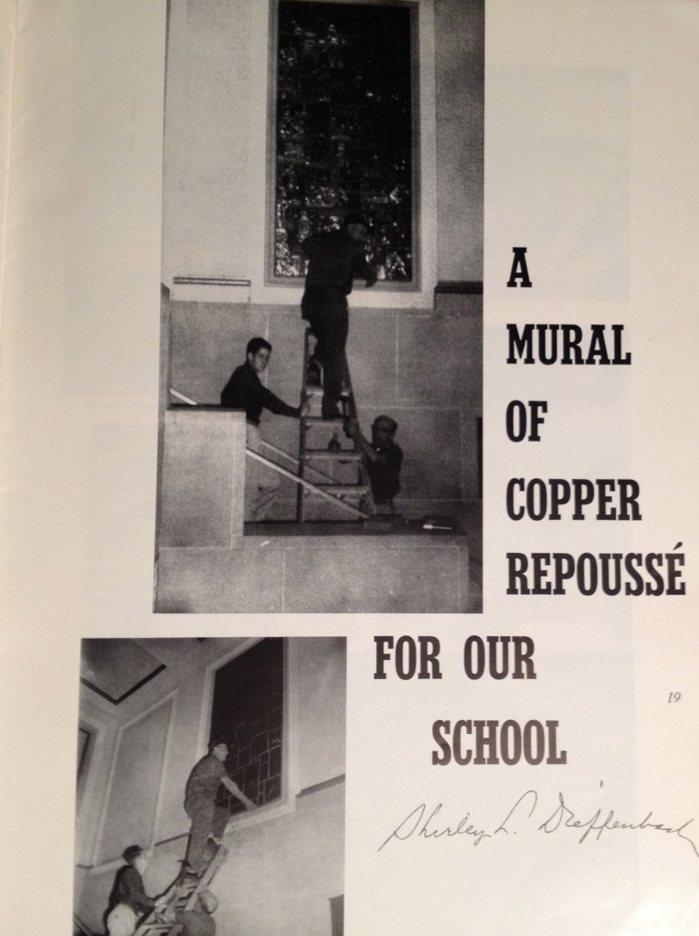 Mural project by Shirley Dieffenbach, art teacher, Williamsport High School, Williamsport, PA. School Arts Magazine, June 1965