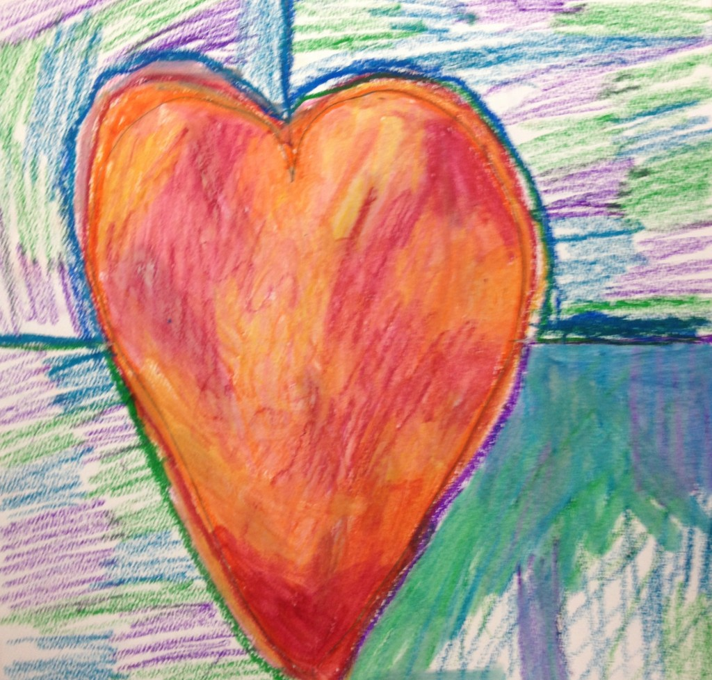 Fourth graders used oil pastels to create these hearts.