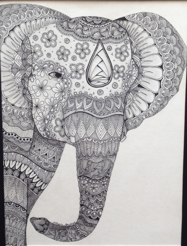 Zentangle Elephant by Alexis Griffith, Guajome Park Academy High School.