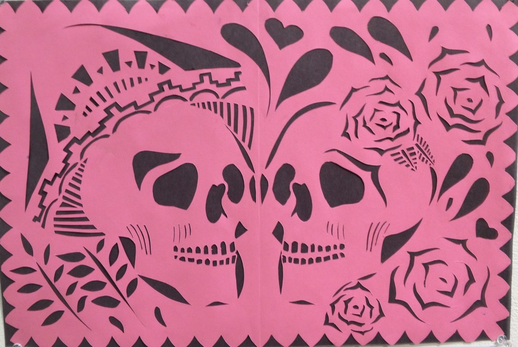 Dia de Los Muertos Cut Paper design by Lizeth Garcia, Torrey Pines High School.