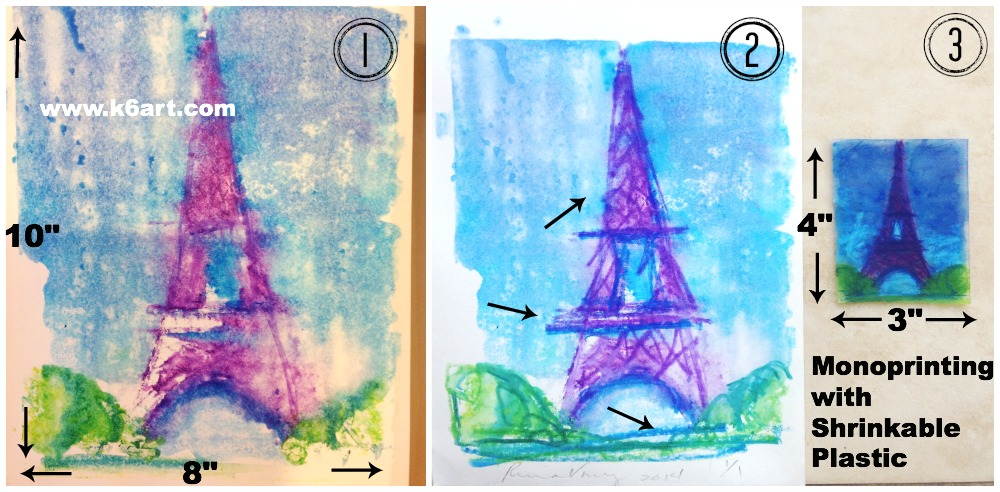 1. Monoprint onto watercolor paper. 2. Rework wet print with wax pastels 3. Rework plastic plate and shrink in oven.