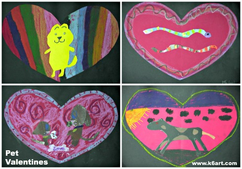 Second grader pet valentine collages. Allow two 40-minute classes.