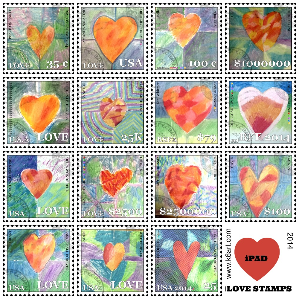Students uses fine art, free Face on Stamp Booth app plus iPads to create individual 'Love Stamps'.