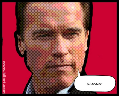 Appropriating an image: Lucas found an image of Arnold Schwarzenegger, added benday dots, colored the background red, and added text.