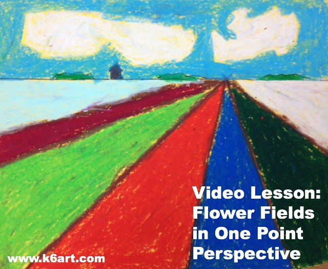 flower fields in one point perspective