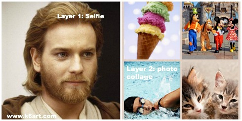 Obi-wan's favorite pet, vacation, activity and food are combined into a layered self portrait.