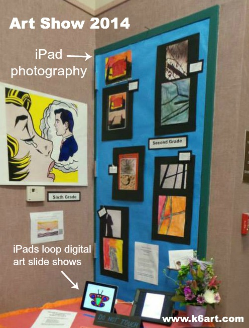 iPad photography print outs, plus looping slideshows at the iPad art showcase.
