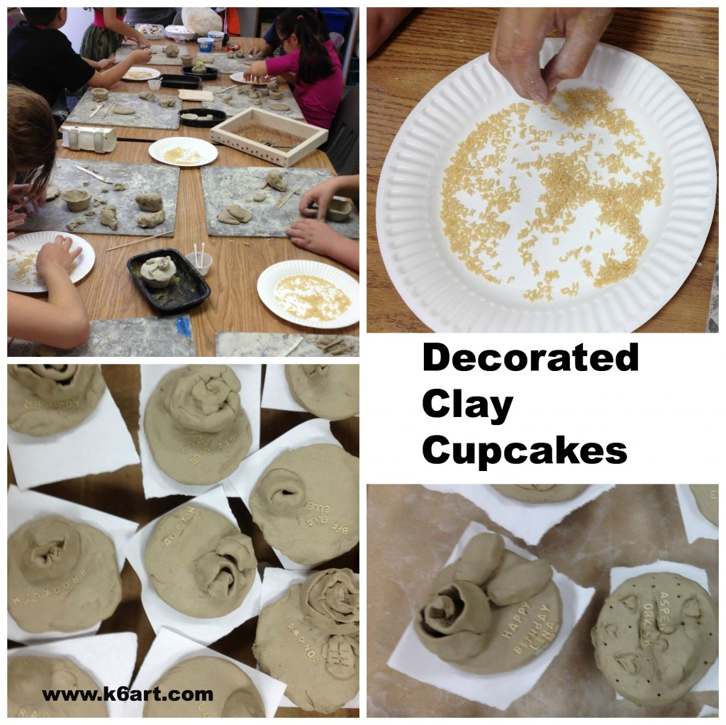 decorated clay cupcakes feature lettering and roses