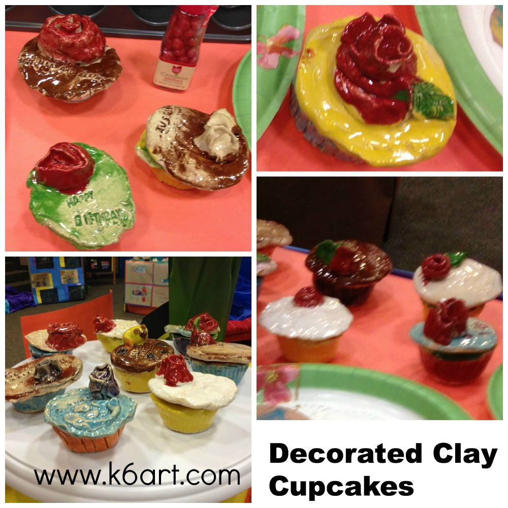 decorated clay cupcakes at the art show.