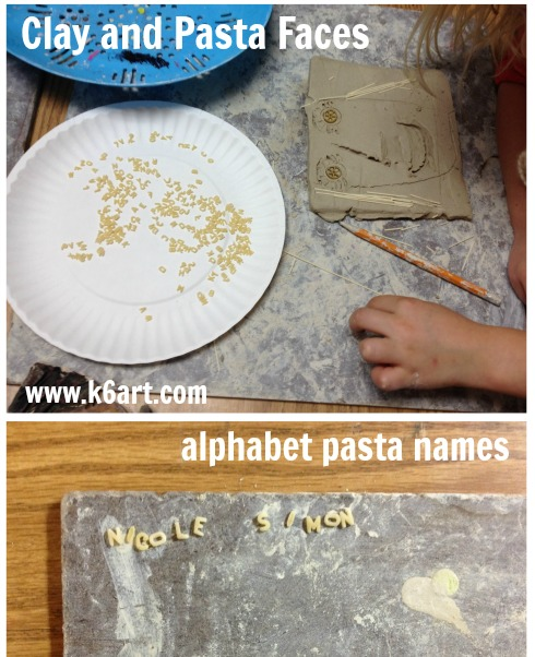 clay and pasta faces alphabet pasta